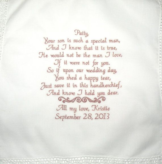 Personalized Hanky Poem Saying For Mother In By CanyonEmbroidery 3600