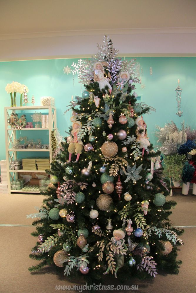 Christmas tree with elves, champagne gold and mint green ...