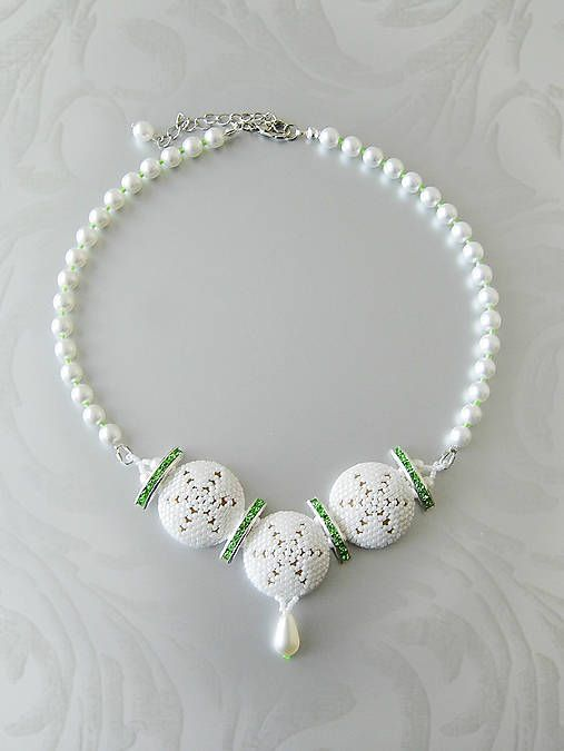 ARTonia / Šitý náhrdelník, beaded necklace, pearl necklace, wedding necklace, bridal, peyote, miyuki delica, mandala