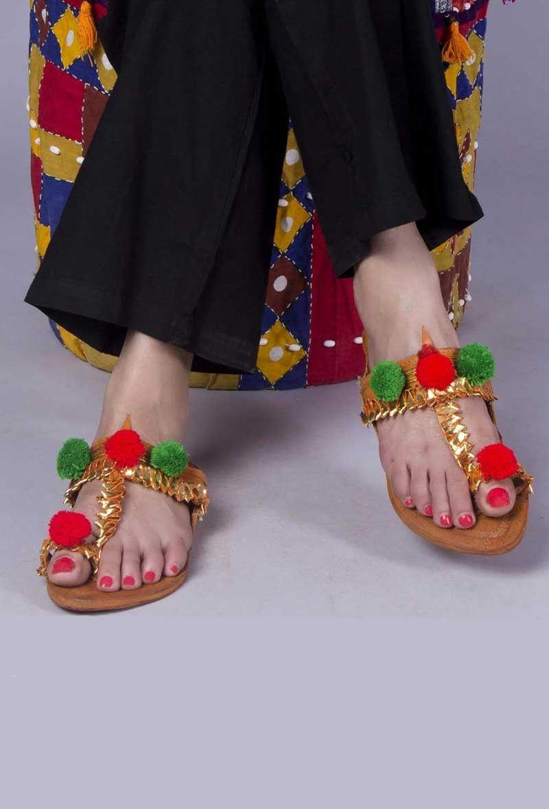 d82d84f981b4ea Genuine Leather Kolhapuri Chappal-Buy Gold Embellished Kolhapuri Chappal  for Women Online at Tjori