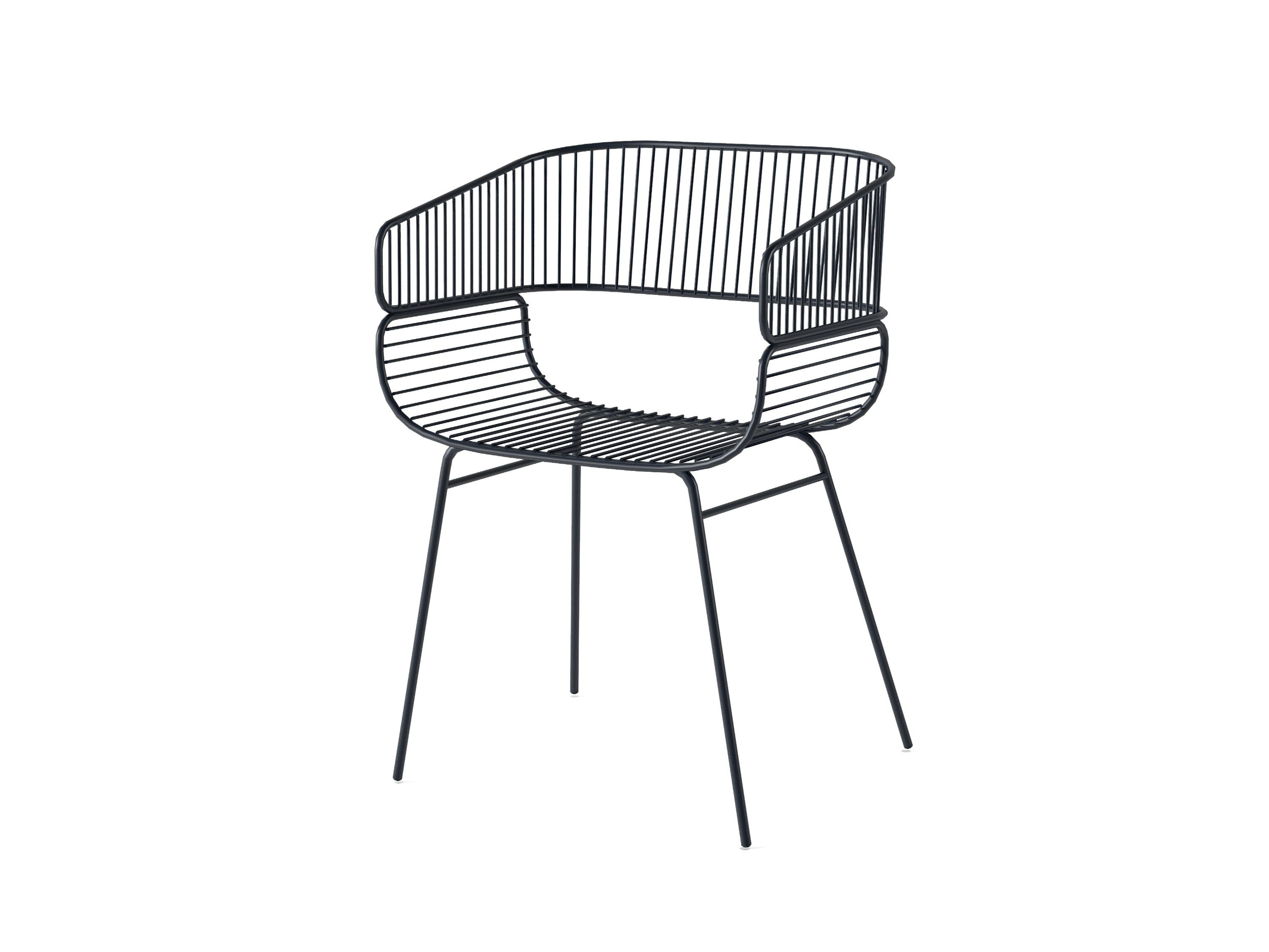 STEEL CHAIR WITH ARMRESTS TRAME BY PETITE FRITURE