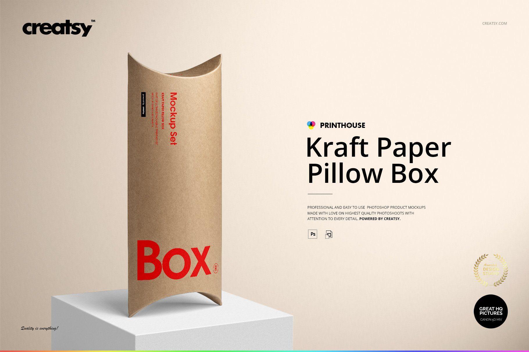 Download Kraft Paper Pillow Box Mockup Set Box Mockup Magnetic Gift Box Pillow Box