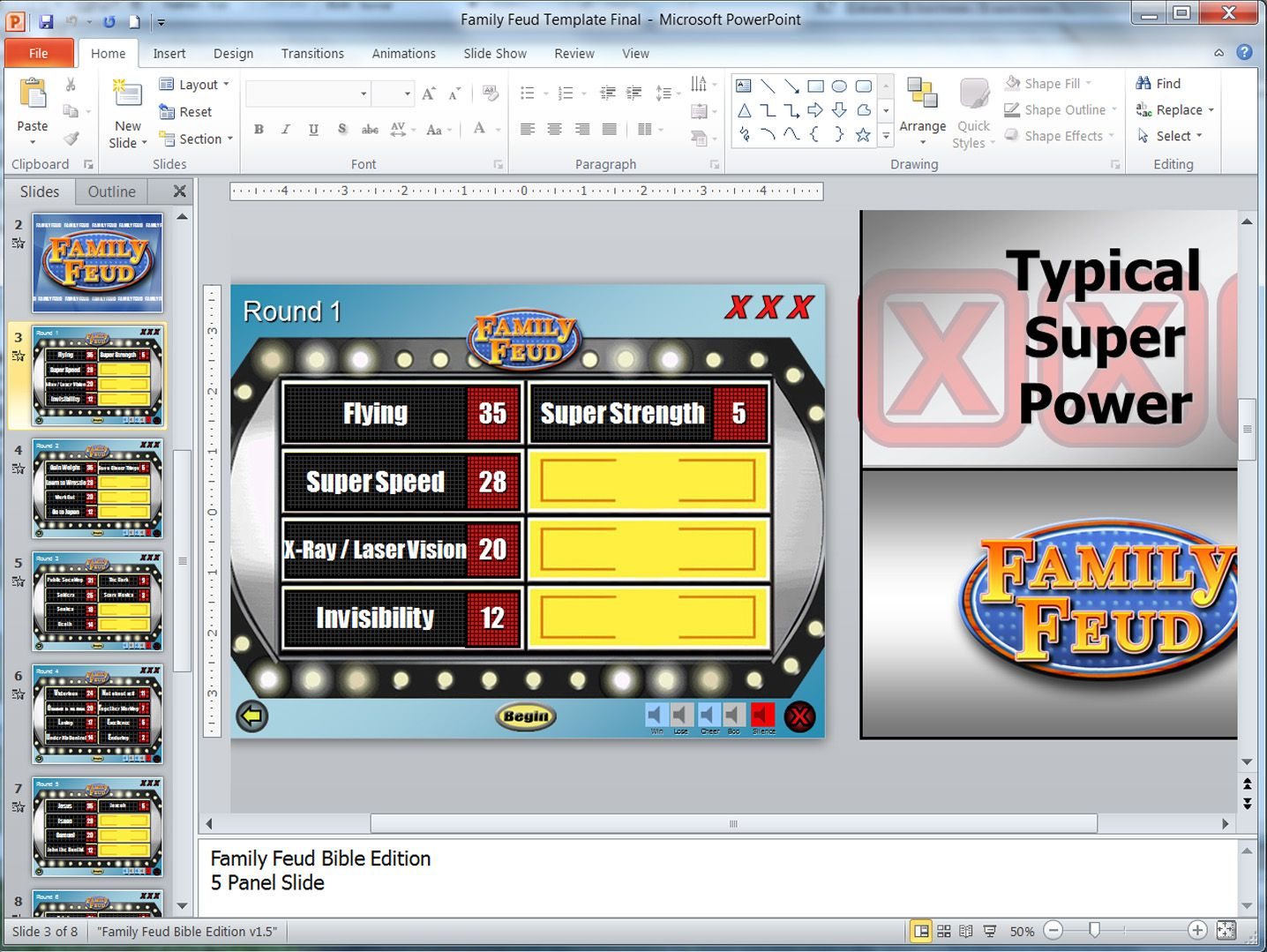 Family Feud Customizable Powerpoint Template Family feud