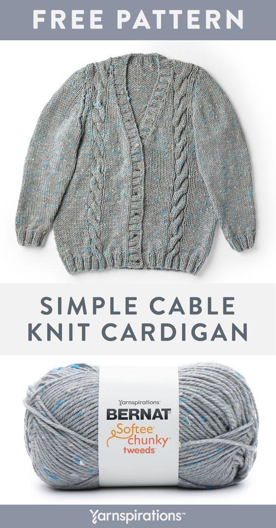 Free knit pattern in Bernat Softee Chunky Tweeds yarn ...