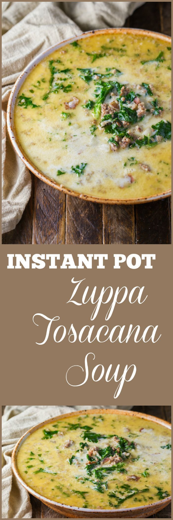This Instant Pot Zuppa Toscana Soup is made with just seven ingredients and twelve minutes under pressure. So much flavor for such a simple soup! | #instantpotsoup #instantpotrecipe #olivegardencopycat #zuppatoscana #zuppatoscanasoup - enjoylife #zuppatoscanasoup