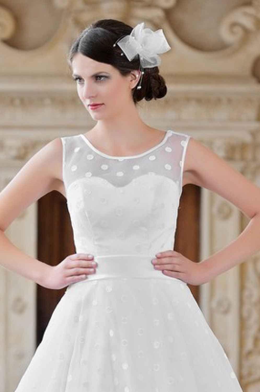 Brautkleid mit Punkten nach Maß mit Trägern Rockabilly  Kleid