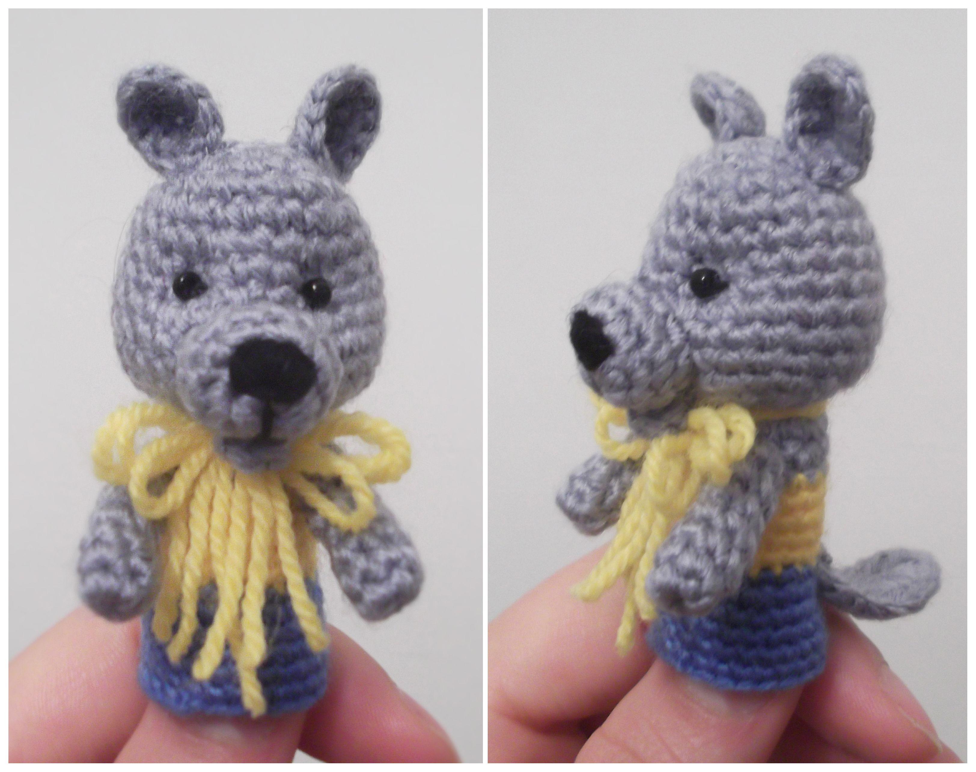 Crochet finger puppet Wolf