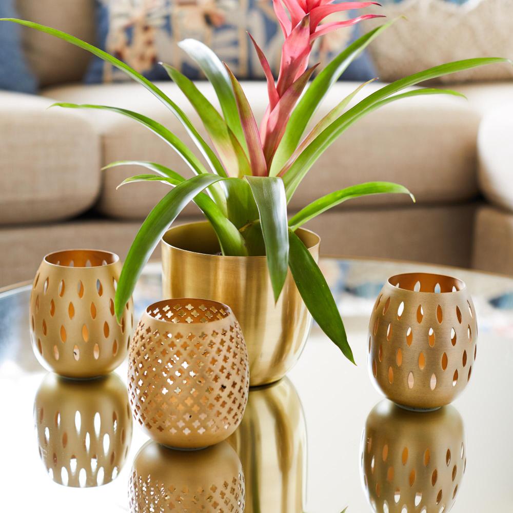Gold Pierced Tealight Candleholders Set of 3