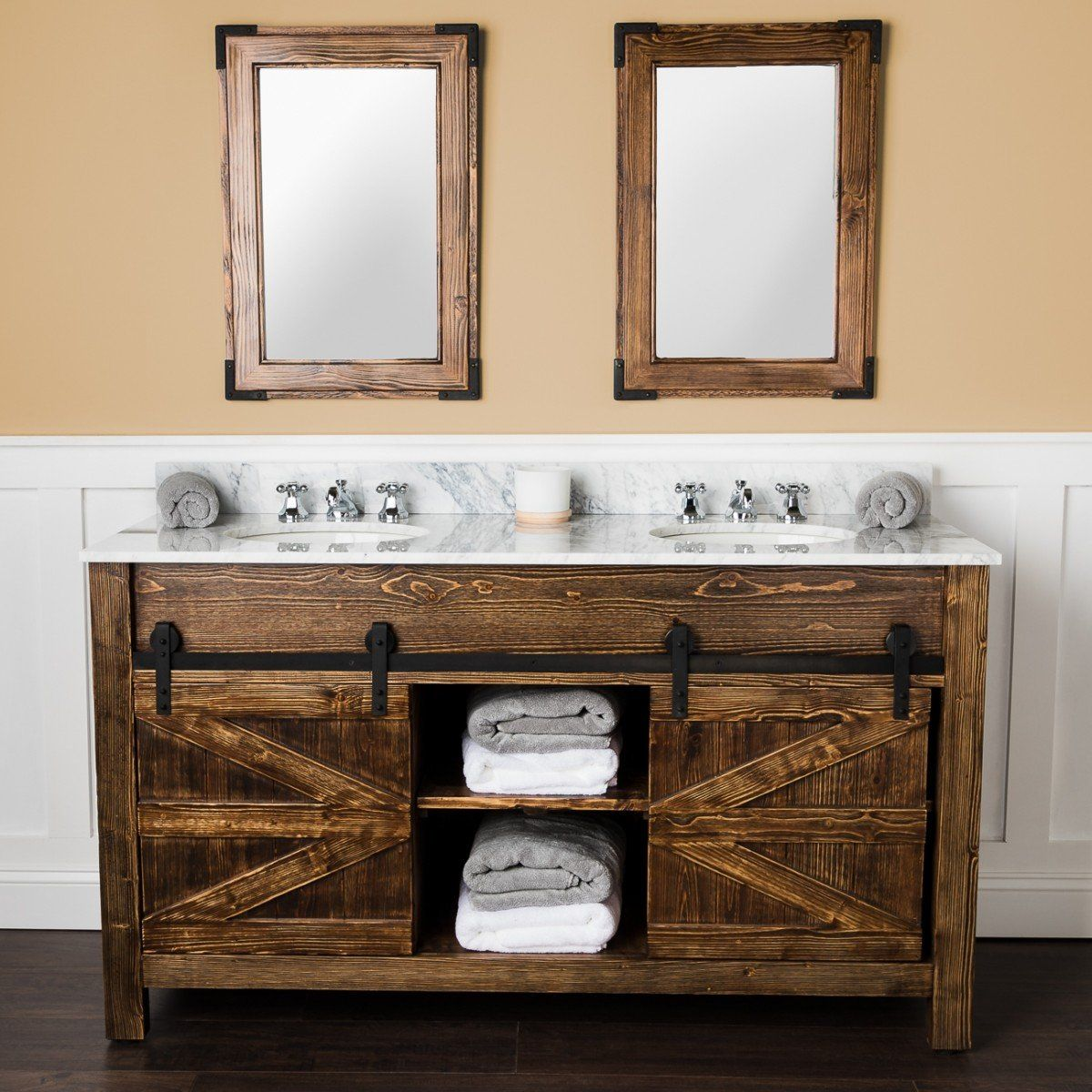 Cottage Barn Door Vanity With Mirror Farmhouse Bathroom Vanity Bathroom Vanity Interior Barn Doors