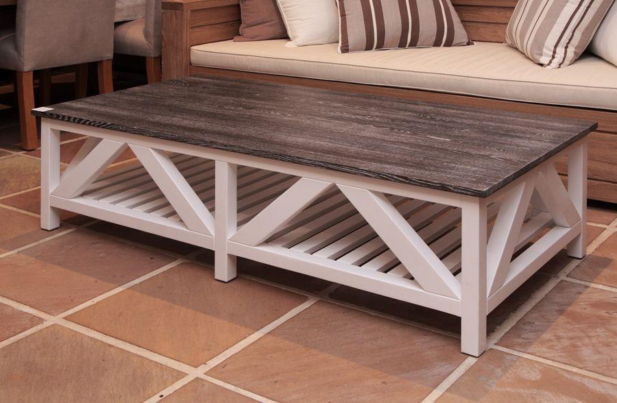 Beachwood Furniture Caribbean Coffee Table White With Grey