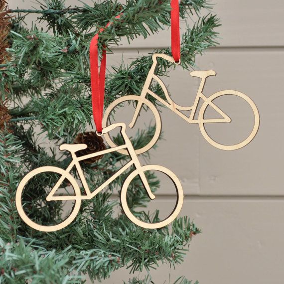 Bike Ornament: Wooden Bicycle Christmas by graphicspaceswood - Bike Ornament: Wooden Bicycle Christmas Ornament, Boy Or Girl (1
