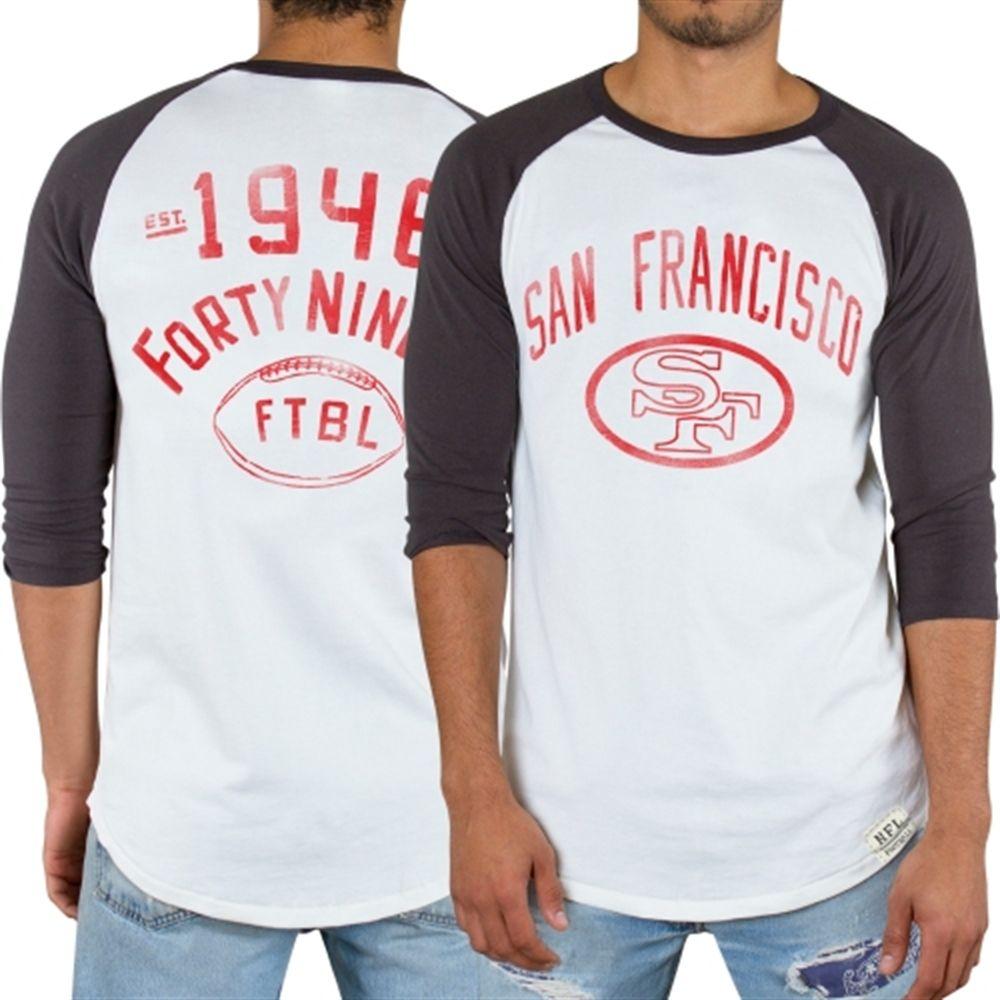 Mens San Francisco 49ers Junk Food White Red Zone Raglan