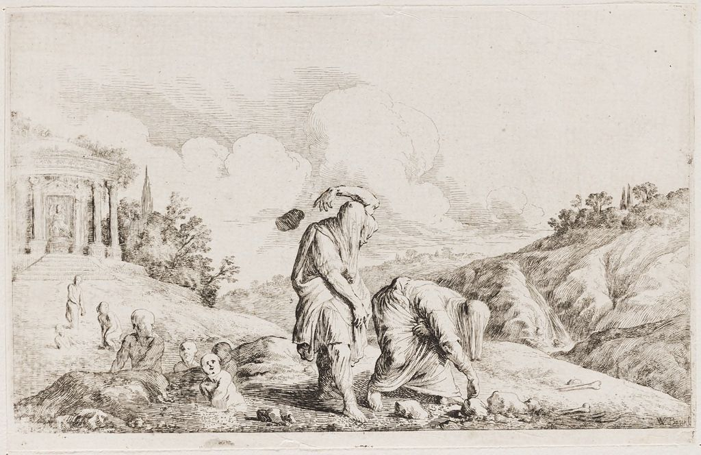 Decaulión y Pirra, Johann Wilhelm Baur, h 1699, Boston, Harvard ...