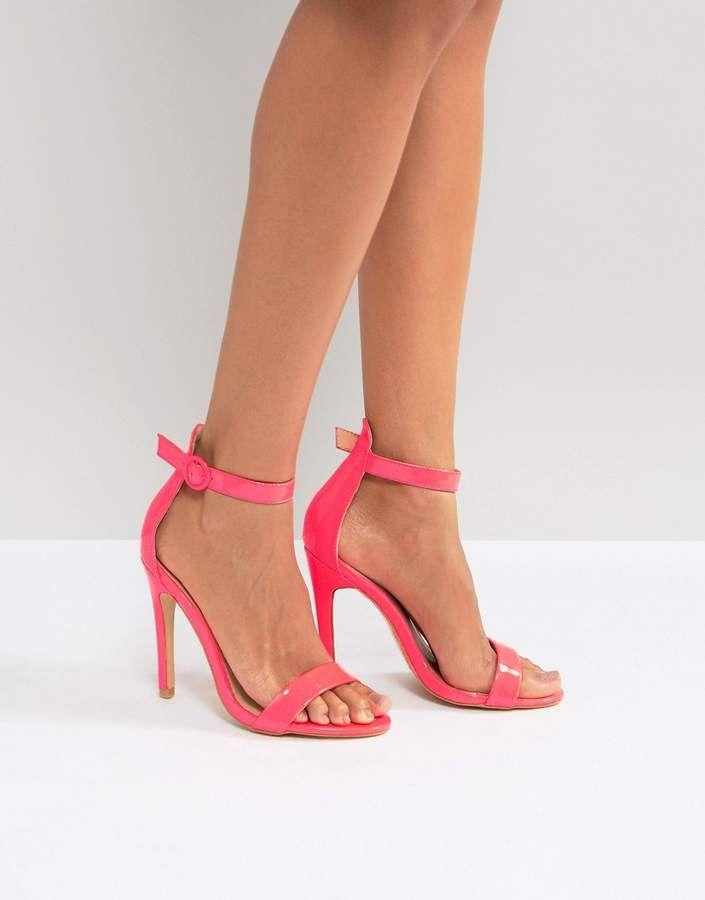 Stud Block Heel Sandal - Hot pink satin Truffle s0d4r