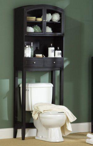 Black Arch Top Over Toilet Bathroom Cabinet Storage Organizer