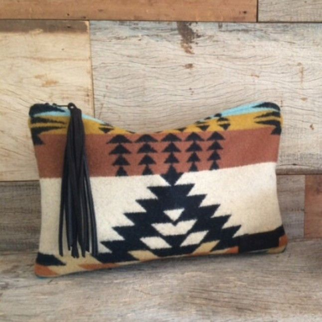 Tan and Teal Pendelton Clutch