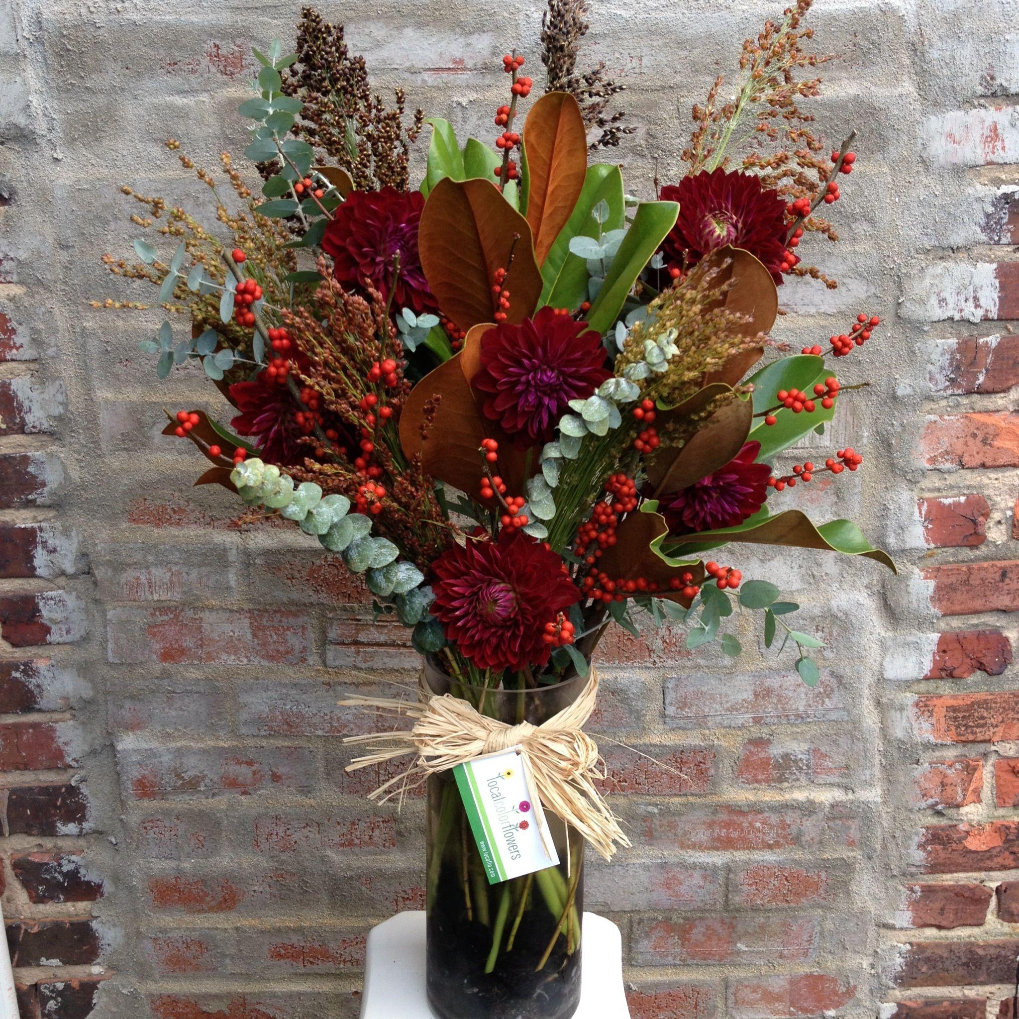 Wedding Broom Ideas: October Centerpiece With Local Magnolia, Dahlias, Broom