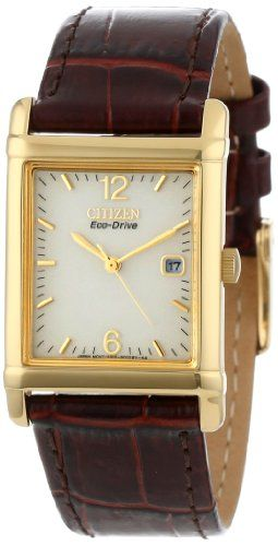 """citizen men s bw0072 07p """"eco drive"""" gold tone stainless steel and citizen men s eco drive gold tone stainless steel and leather watch"""