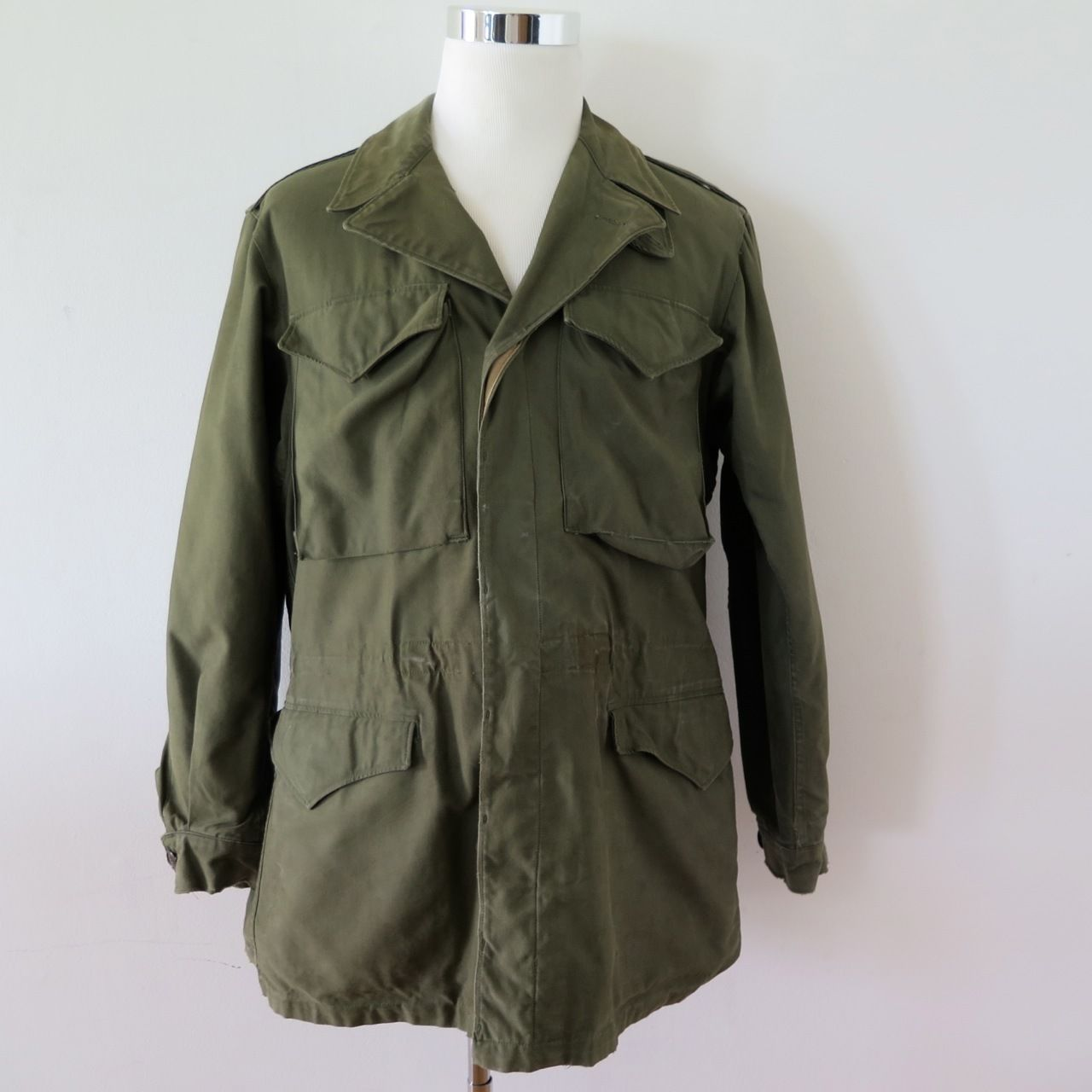 Vintage 40s 1942 Dated World War 2 Overcoat Military 38R PO75nSw