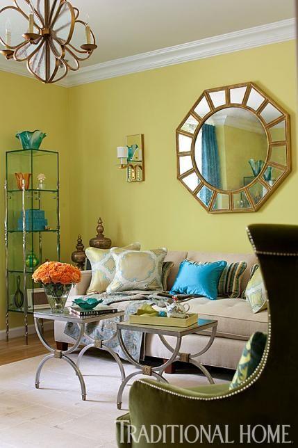 Split Pea Paint From Pratt Lambert Provides A Cheerful Wall Color In This Colorful Morning Room Traditional Home Photo John Bessler Design