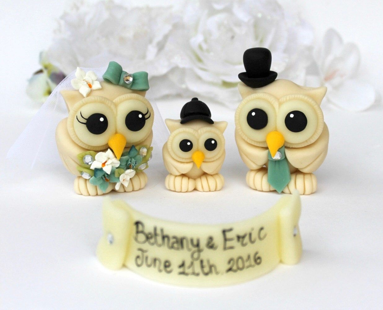 Wedding owl cake topper, custom love bird cake topper with baby, owl ...