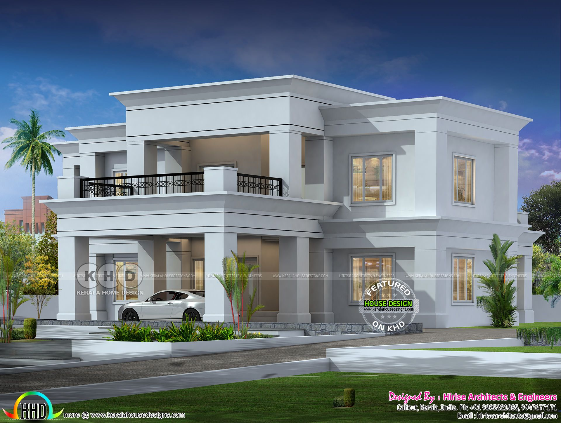 Colonial Type Flat Roof House Architecture Flat Roof House House Roof Design Kerala House Design
