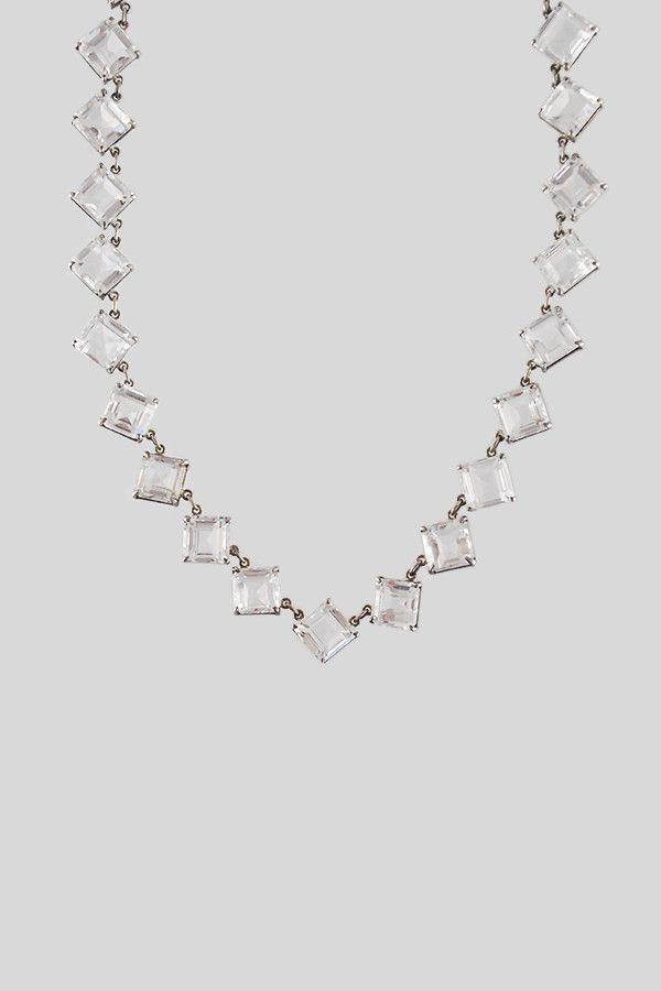 Antique Art Deco Silver & Diamond Crystal Necklace