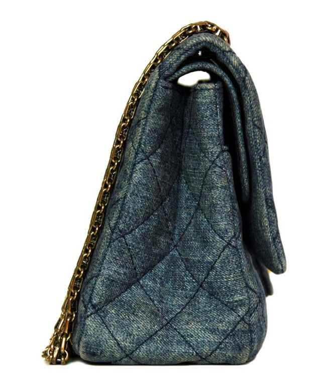 545b30a477ac36 View this item and discover similar handbags and purses for sale at - Quilted  denim with navy stitching. Bijoux chain which can be doubled or singled.