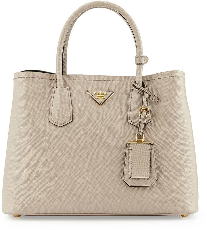 Prada Saffiano Cuir Small Double Bag Light Gray Pomice