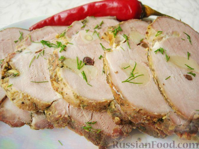 Рецепт Запеченная свинина в рукаве, cостав: вырезка свиная ...