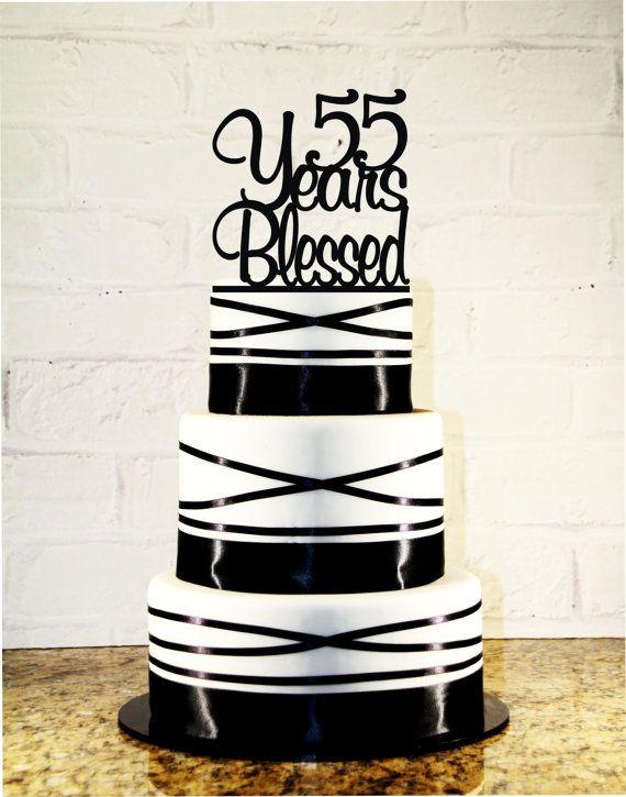 55th Birthday Wedding Anniversary Cake Topper