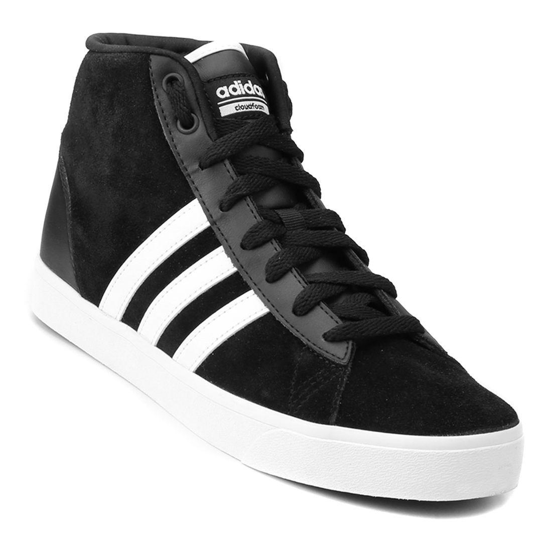 4a49f5772 Tênis Adidas Cf Daily Qt Mid Feminino - Preto e Branco   Sneakers ...