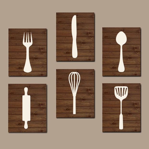 Kitchen Wall Art Cooking Utensils Canvas Or Prints Cook Decor Home Wood Effect Set Of 6