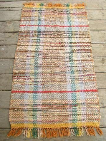 Vintage Woven Cotton Rag Rug Old Kitchen Porch Runner