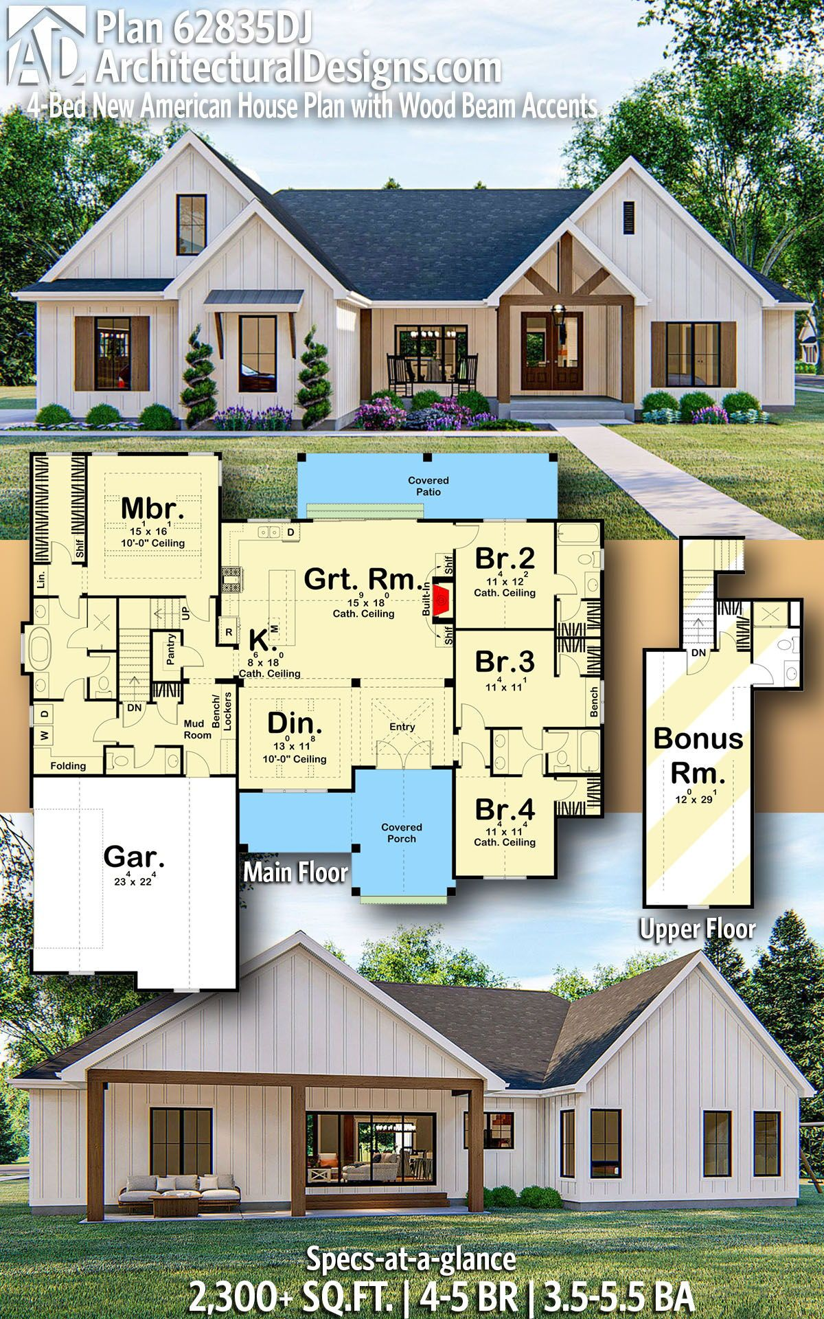 Plan 62835dj 4 Bed New American House Plan With Wood Beam Accents In 2020 Architectural Design House Plans House Plans Dream House Plans