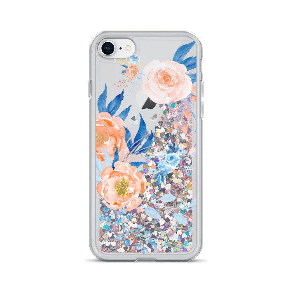 Floral iphone glitter phone case iphone 8 case iphone 8
