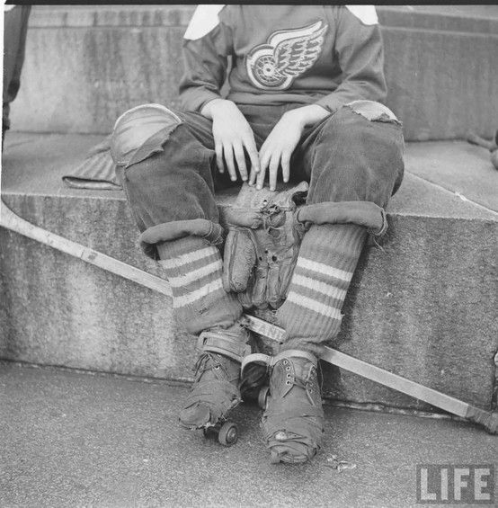 Boy Playing Street Hockey 1951 Street Hockey Hockey Kids Hockey Game Outfit