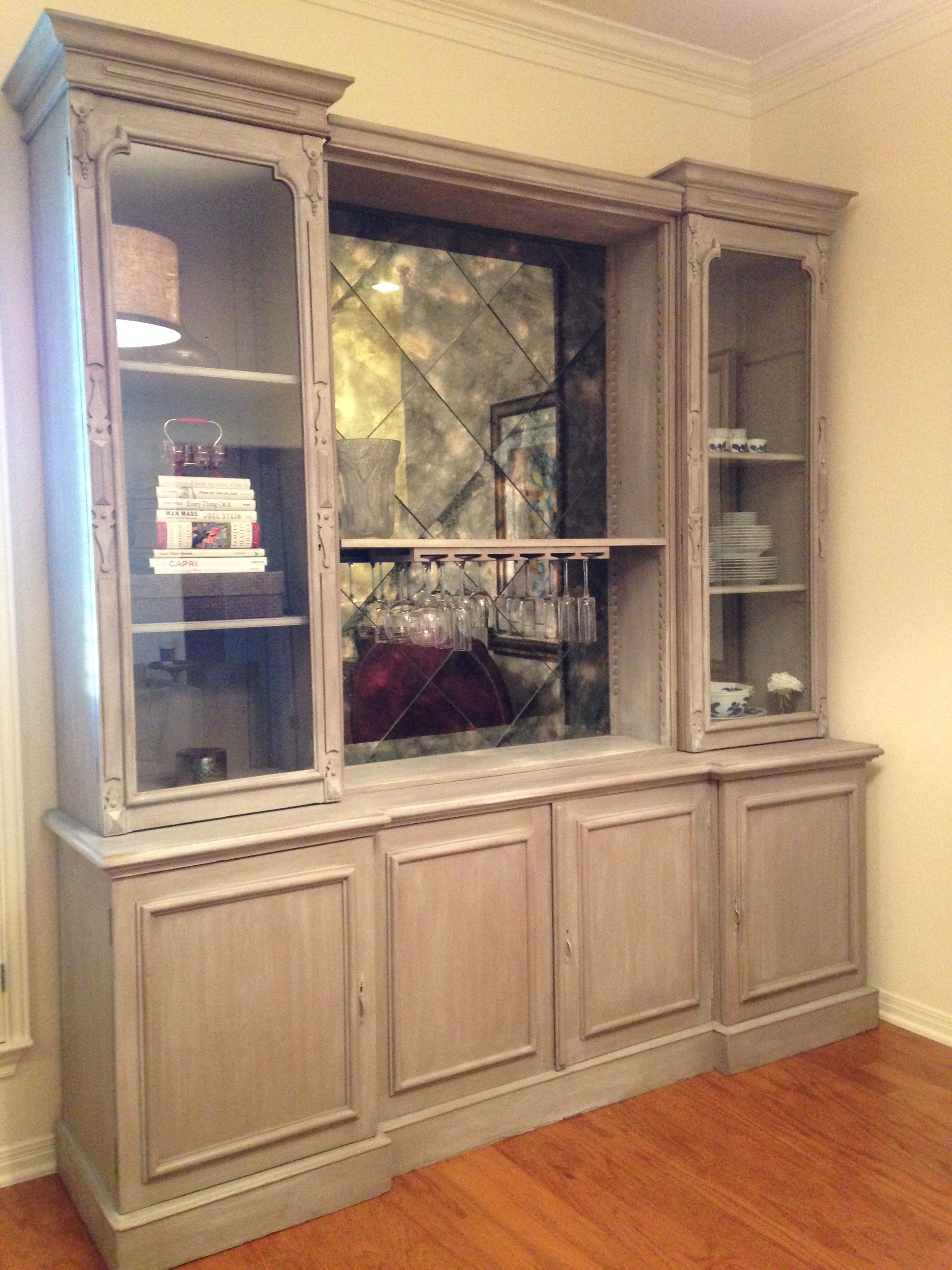 Whitewashed serving buffet and hutch refinished in coco with and