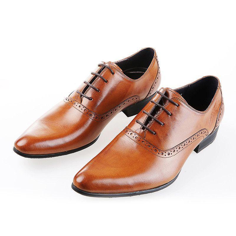 Fashion Brown Tan Black Mens Dress Shoes Flats Genuine Leather Wedding