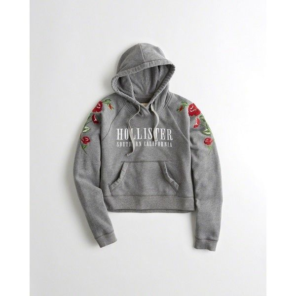 e158f0ef7 Hollister Embroidered Graphic Boxy Hoodie ($50) ❤ liked on Polyvore  featuring tops, hoodies, heather grey, cropped hoodies, logo hoodie, fleece  hooded ...