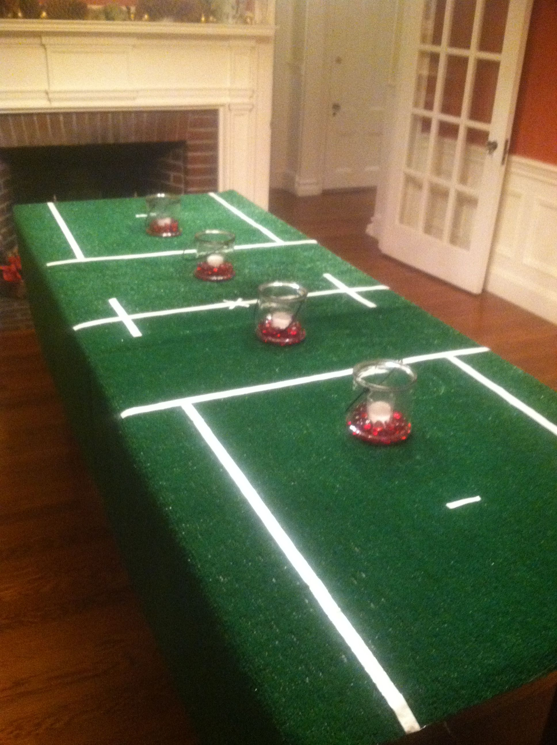 Lacrosse Party Turf Rug Tablecloth Lined With Thin White