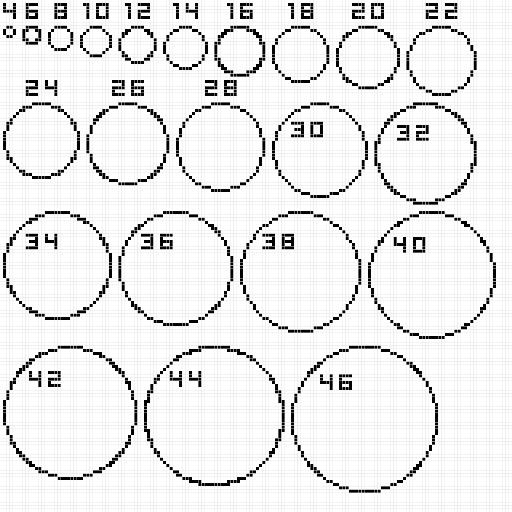 Making a dome Minecraft circles Minecraft circle chart Circle