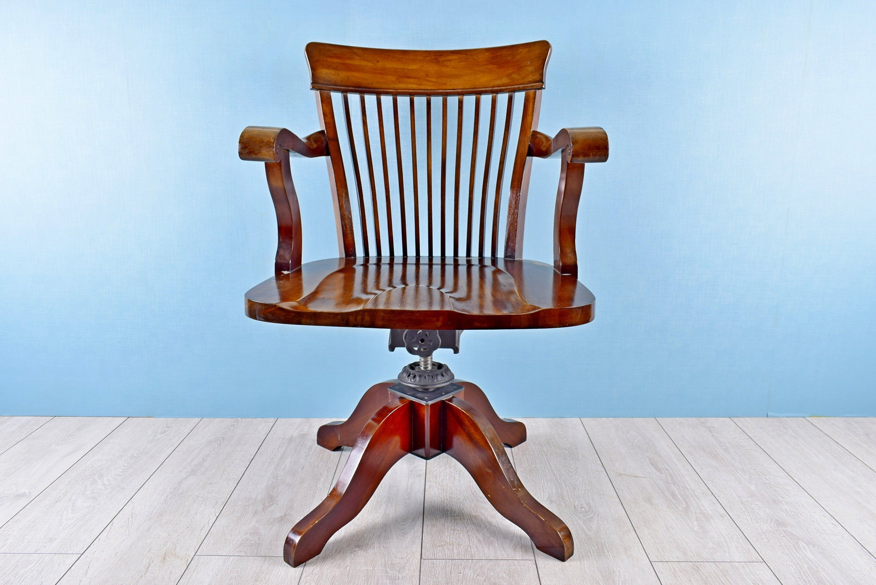 Antique Wooden Office Chair Windsor Swivel Desk Chair With Adjustable Height Rustic Workplace Accessory Home Office Furniture Uk 1900s In 2020