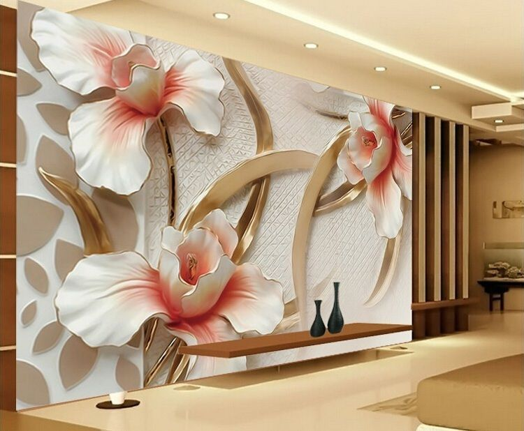 Details about 3D Wallpaper Bedroom Mural Roll Modern Lily Flower