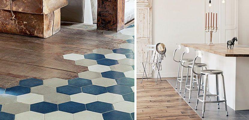 suelos combinados para darle un toque original a tu cocina