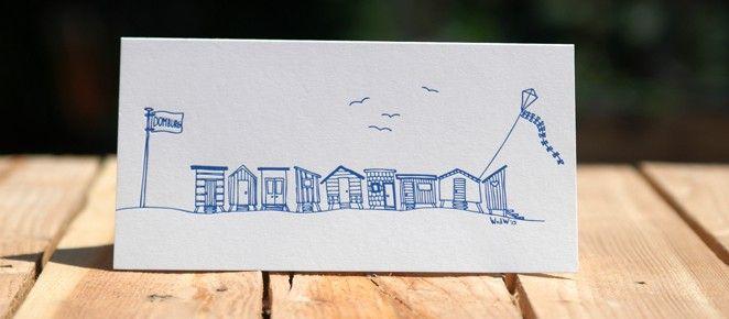 Strandhuisjes trouwkaart Sabine en Maarten