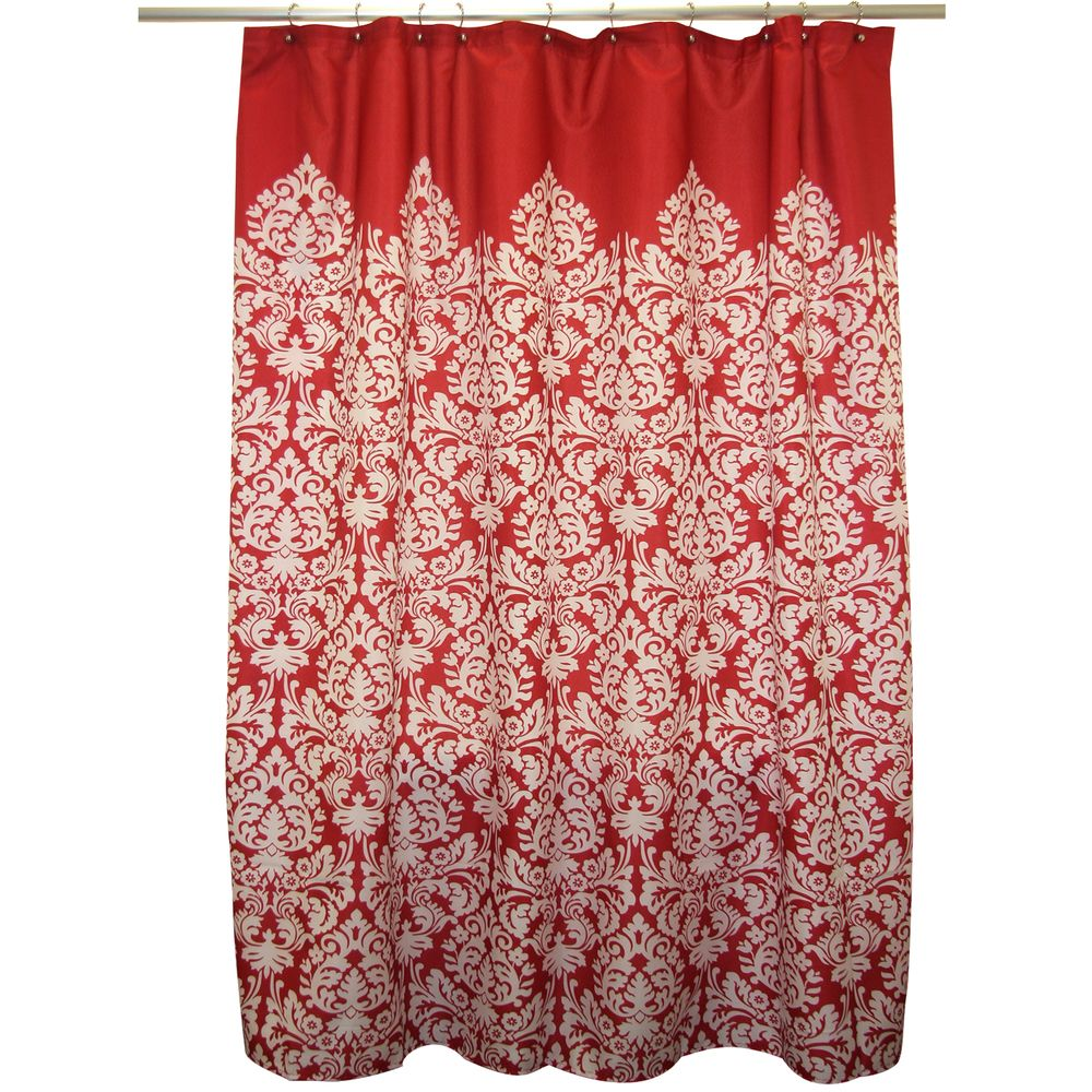 Waverly Essence Lipstick Red Shower Curtain | Overstock.com With Grey Side  Drapes