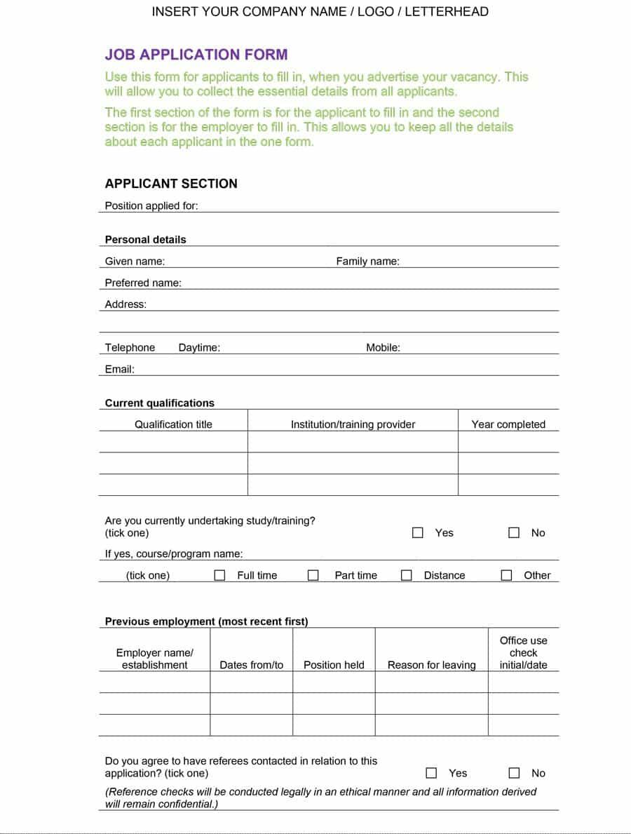 50 Free Employment / Job Application Form Templates within