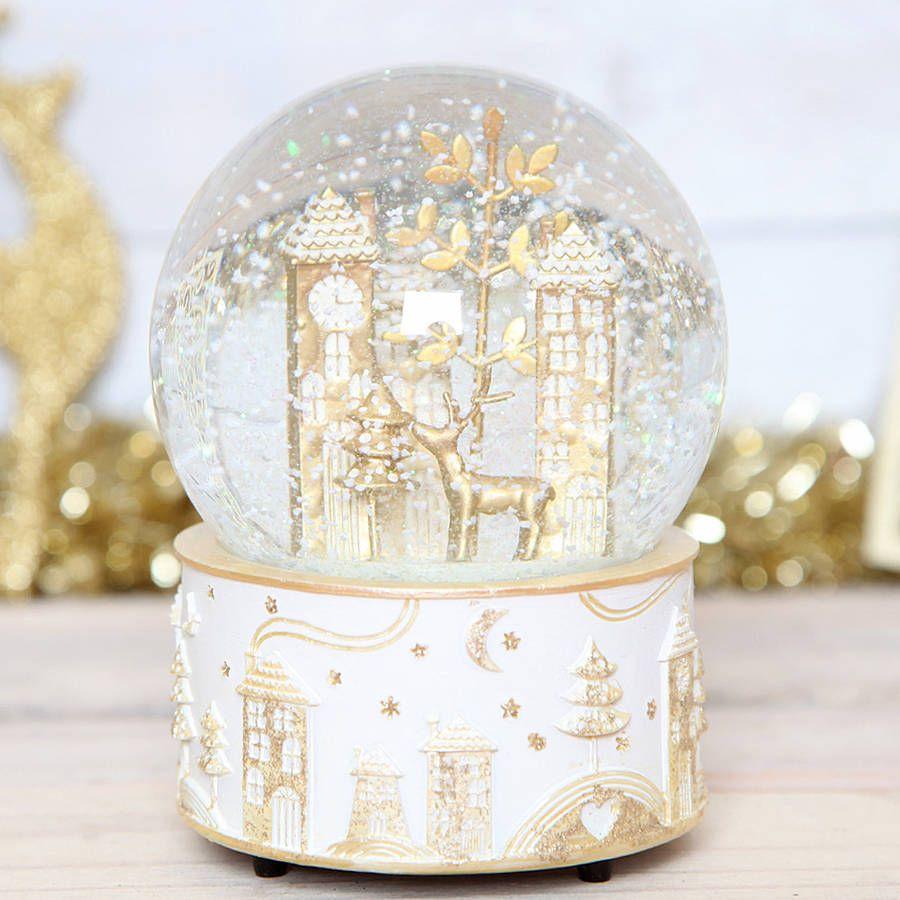 Christmas Gold Deer Musical Snow Globe Dome   Musical snow globes ...