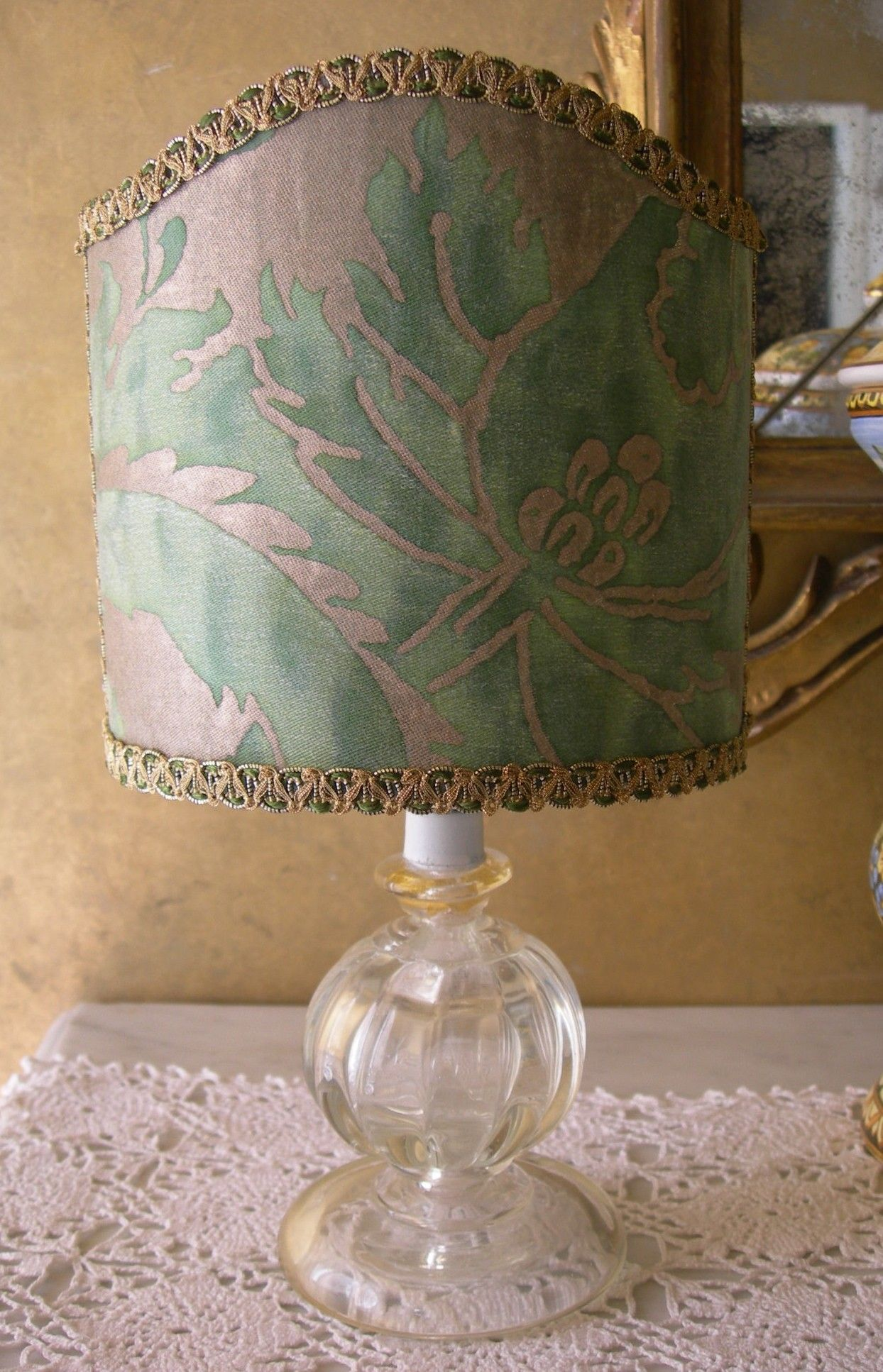 Vintage Murano Glass Table Lamp With Green And Gold Olimpia Fortuny